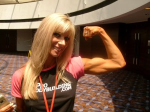 Candid Peak: Heidi proudly shows off her impressive bicep at the Jr Nationals.